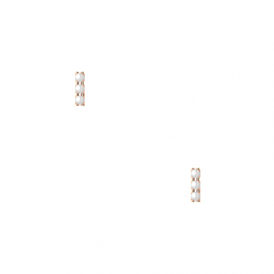 """Image of """"""""Trio Pearl Bar"""" silver earrings rose gold plated"""""""