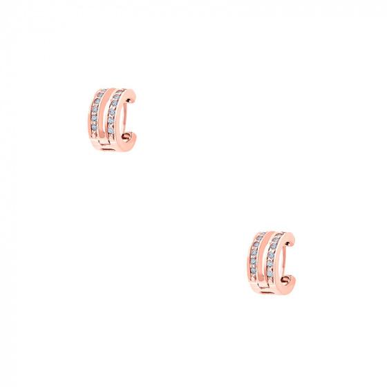 """Image of """"""""Fusion"""" cercei creole din argint placat cu aur roz"""""""