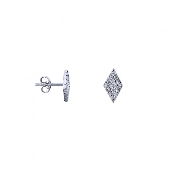 """Εικόνα του """"Λευκόχρυσα σκουλαρίκια Κ9 """"Two of Diamonds"""""""""""
