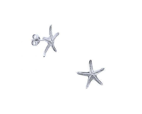 "Image of """"Starfish #2"" white gold K9 earrings """