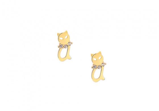 """Image of """"""""Happy Kitty"""" gold earrings K14"""""""