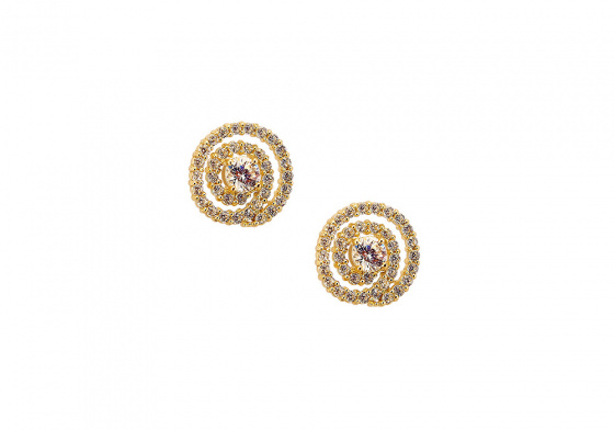 """Image of """"""""Space Spiral"""" gold earrings K14"""""""