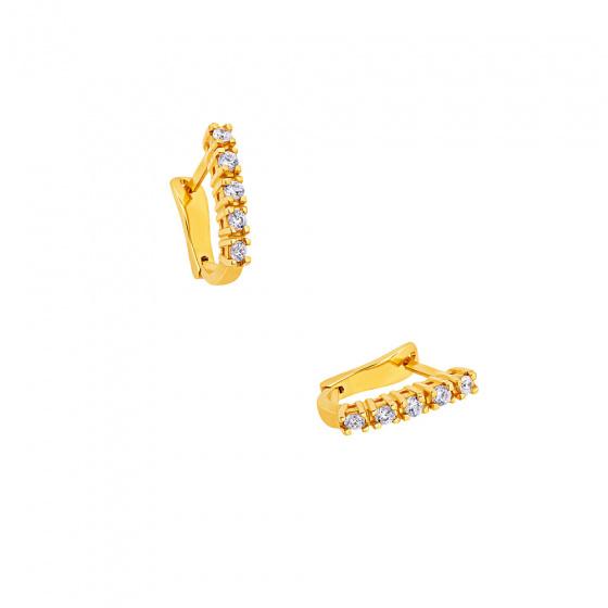 """Εικόνα του """"Χρυσά σκουλαρίκια K18 """"White Glow A"""" με μπριγιάν VS"""""""