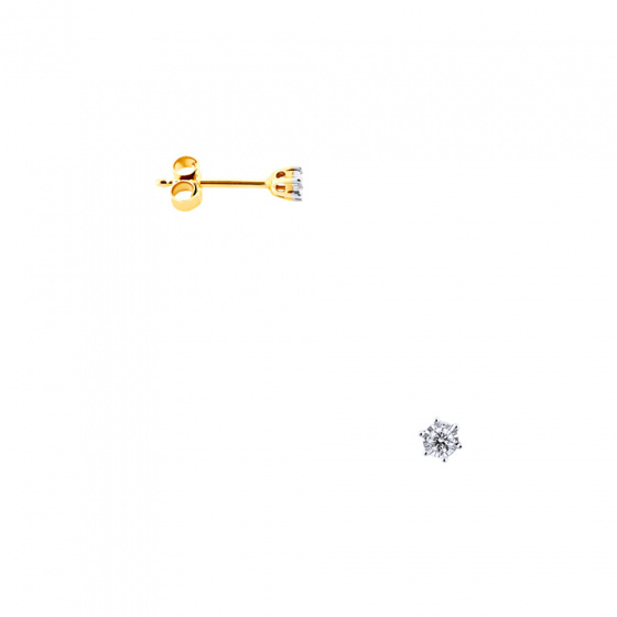 """Image of """"Gold earrings Κ14 with diamonds, BOS4008-005"""""""