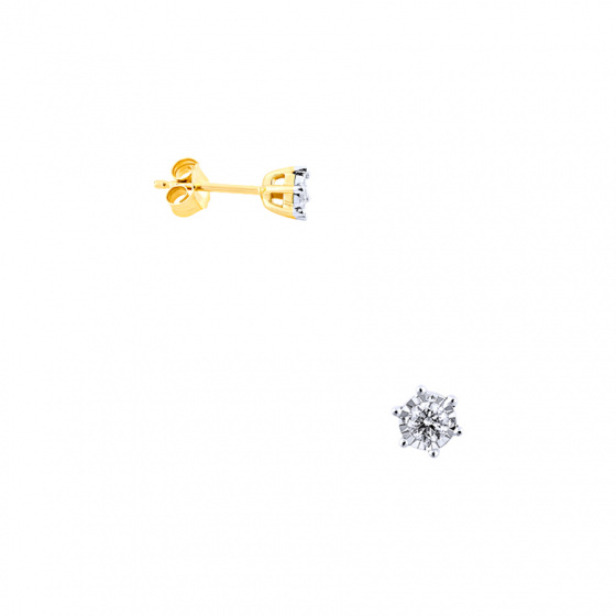 """Image of """"Gold earrings Κ14 with diamonds, BOS4008-020"""""""