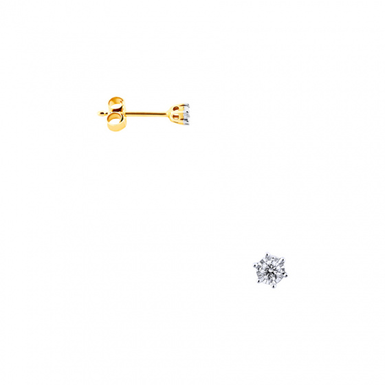 """Image of """"Gold earrings Κ14 with diamonds, BOS4008-010"""""""