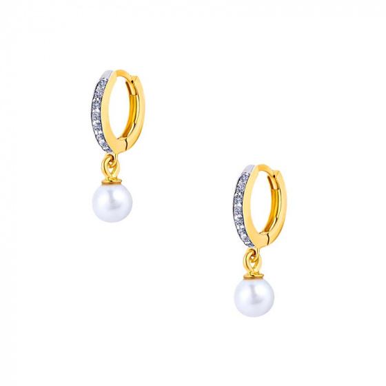 """Εικόνα του """"Χρυσά σκουλαρίκια κρίκοι K14 """"Dangle Pearl"""""""""""