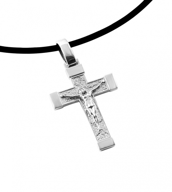 """Image of """"Silver cross with the crucified Jesus Christ"""""""