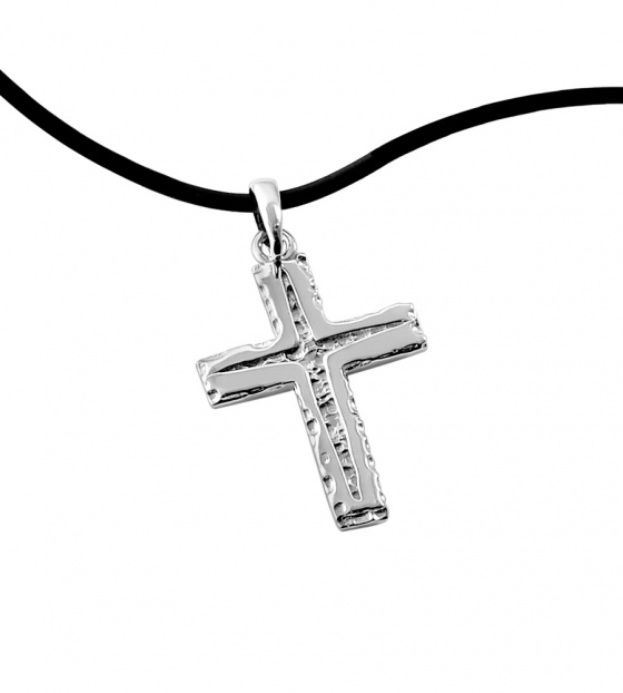 """Image of """"Εngraved silver men's cross"""""""