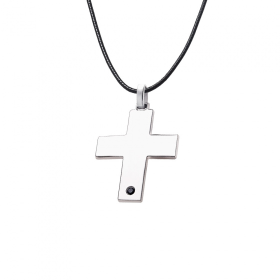 """Image of """"Silver men's cross with black little stone - 64417"""""""