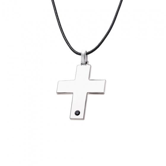 """Εικόνα του """"Σταυρός ανδρικός ασημένιος με μαύρη πετρούλα - 64417"""""""