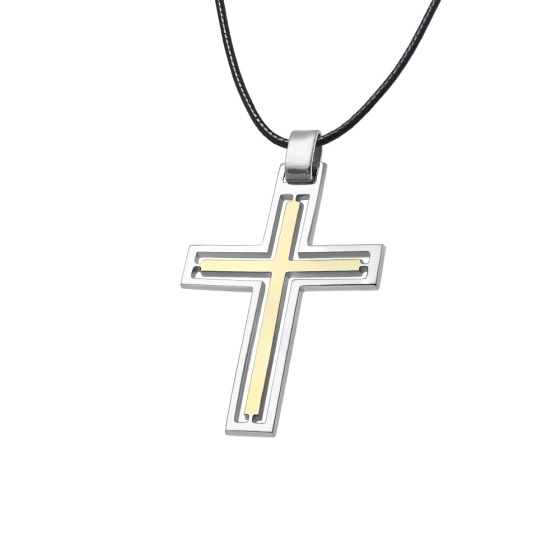 """Image of """"Men's silver cross white and yellow coloured - 69217"""""""
