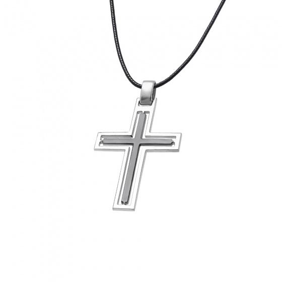 """Εικόνα του """"Ανδρικός σταυρός ασημένιος με διχρωμία - 69217 (Επιροδιωμένο ασήμι 925)"""""""