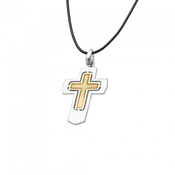 """Image of """"Men's silver cross two coloured - 64617"""""""