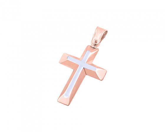 """Εικόνα του """"Ροζ χρυσός ανδρικός σταυρός Κ14, T02019"""""""