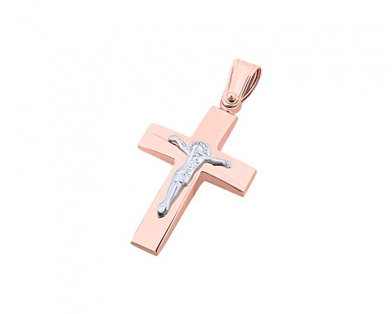 """Εικόνα του """"Ροζ χρυσός ανδρικός σταυρός Κ14, T01719"""""""