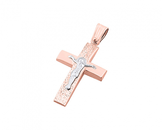 """Εικόνα του """"Ροζ χρυσός ανδρικός σταυρός Κ9, T04519"""""""