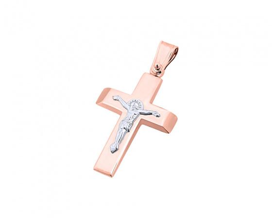 """Εικόνα του """"Ροζ χρυσός ανδρικός σταυρός Κ9, T04619"""""""