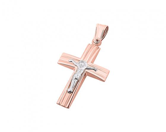 """Εικόνα του """"Ροζ χρυσός ανδρικός σταυρός Κ9, T04919"""""""