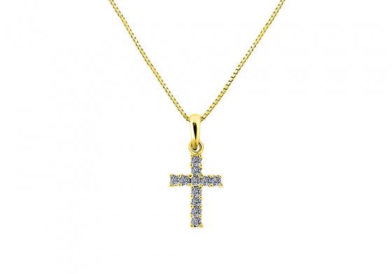 """Εικόνα του """"Ασημένιος γυναικείος σταυρός με αλυσίδα """"Luminus Cross"""" επίχρυσος"""""""