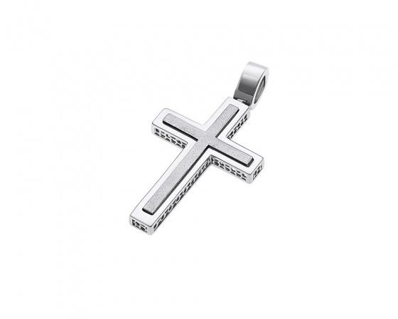 """Image of """"White gold men's cross Κ14, H252"""""""