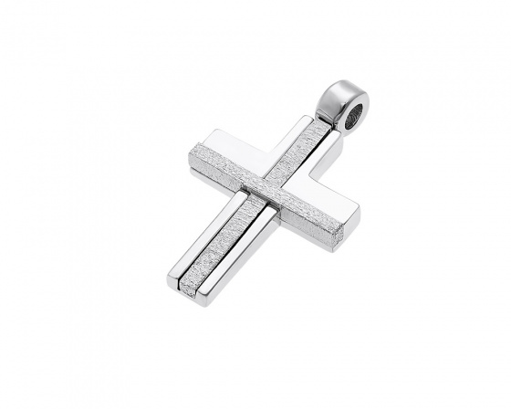 "Image of ""White gold men's cross Κ14, Τ010"""