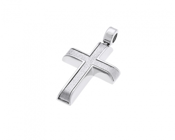 "Image of ""White gold men's cross K14, T015"""