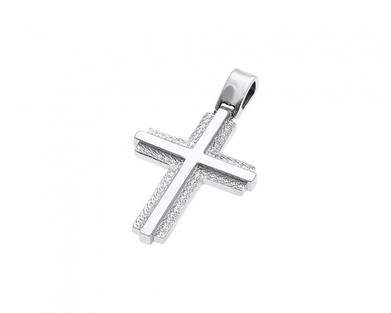 "Image of ""White gold men's cross K14, Η376"""