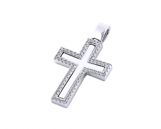 "Image of ""White gold women's cross Κ14, T00118"""