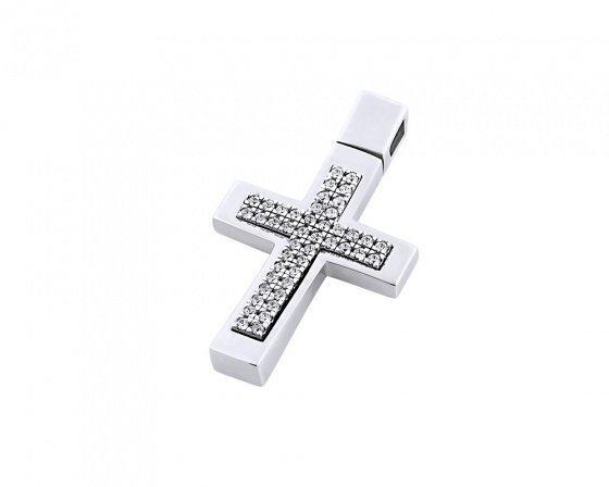 "Image of ""White gold women's cross Κ14, T00218"""