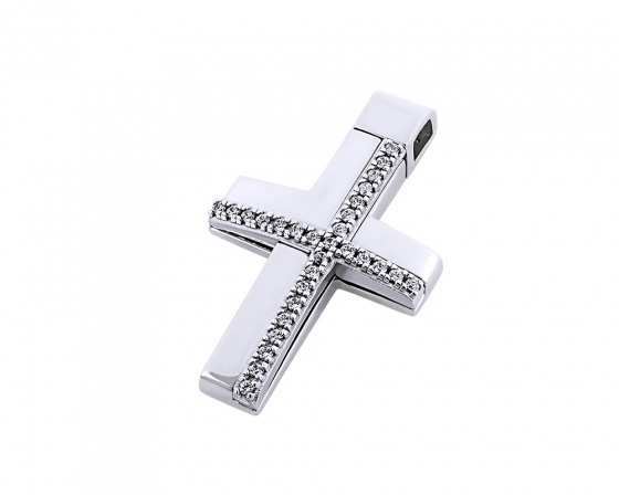 "Image of ""White gold women's cross Κ14, T00318"""