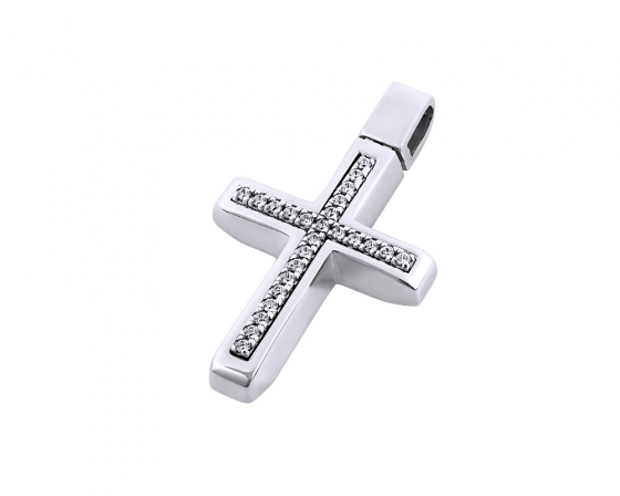 "Image of ""White gold women's cross Κ14, T00418"""