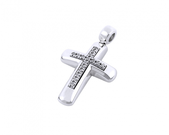 "Image of ""White gold women's cross Κ14, T00518"""