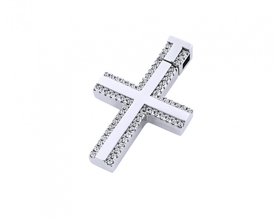 "Image of ""White gold women's cross Κ14, T00618"""
