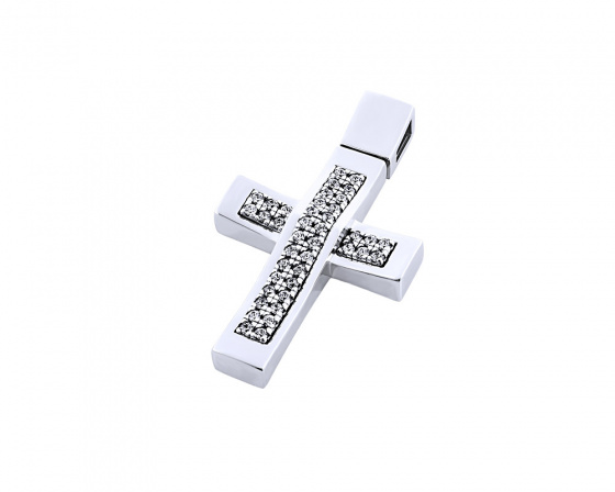"Image of ""White gold women's cross Κ14, T00718"""