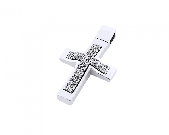 "Image of ""White gold women's cross Κ14, T00918"""