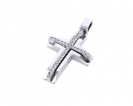 "Image of ""White gold women's cross Κ14, T01218"""