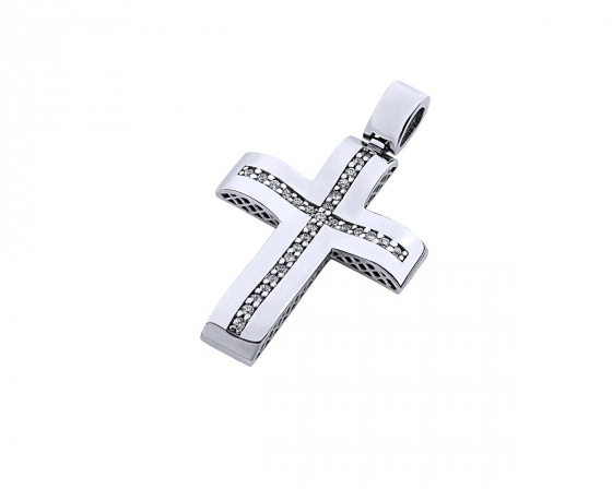 "Image of ""White gold women's cross Κ14, T00119"""