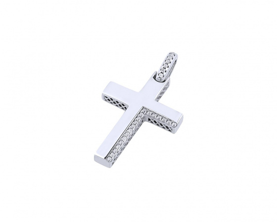 "Image of ""White gold women's cross Κ14, T00319"""