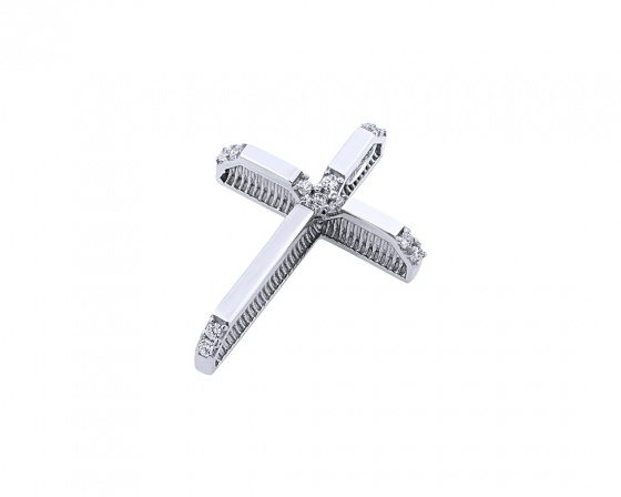 "Image of ""White gold women's cross Κ14, T01219"""