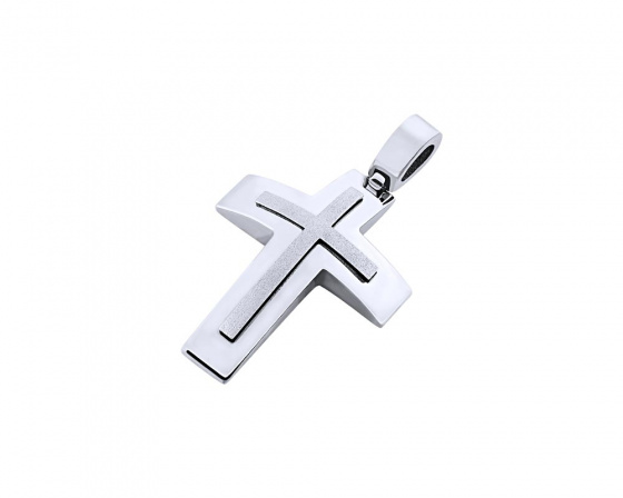 "Image of ""White gold men's cross Κ14, T02119"""