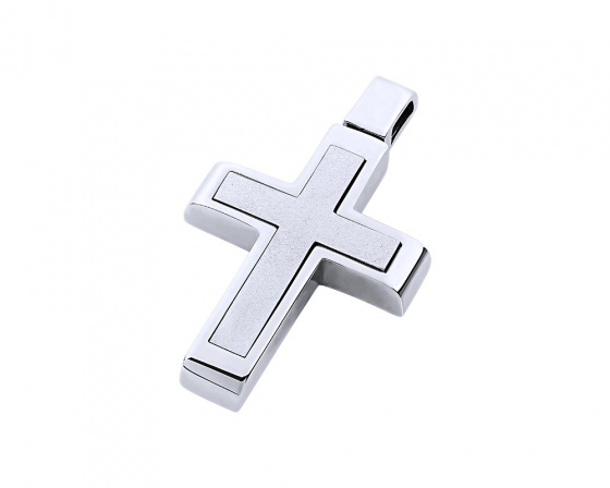 "Image of ""White gold men's cross Κ14, T02319"""