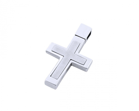 "Image of ""White gold men's cross Κ14, T02419"""