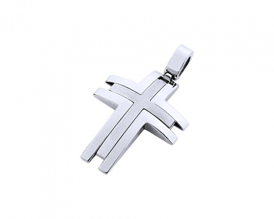 "Image of ""White gold men's cross Κ14, T02619"""