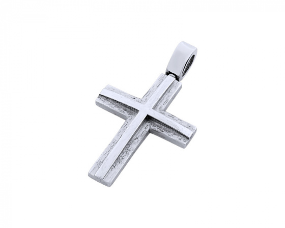 "Image of ""White gold men's cross Κ14, T04219"""