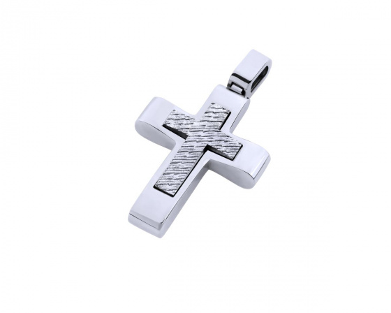 "Image of ""White gold men's cross Κ14, T03819"""