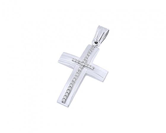 """Image of """"White gold K14 women's cross, T04419"""""""