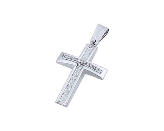 """Εικόνα του """"Λευκόχρυσος γυναικείος σταυρός Κ14, T04219"""""""