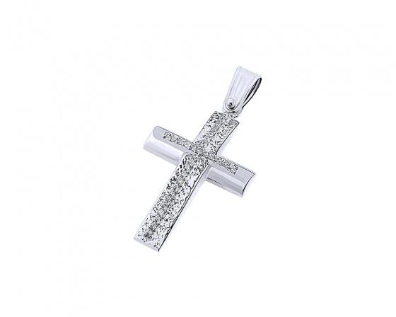 """Εικόνα του """"Λευκόχρυσος γυναικείος σταυρός Κ14, T04119"""""""
