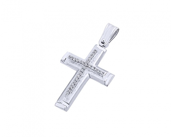"Image of ""White gold women's cross Κ9, T03919"""
